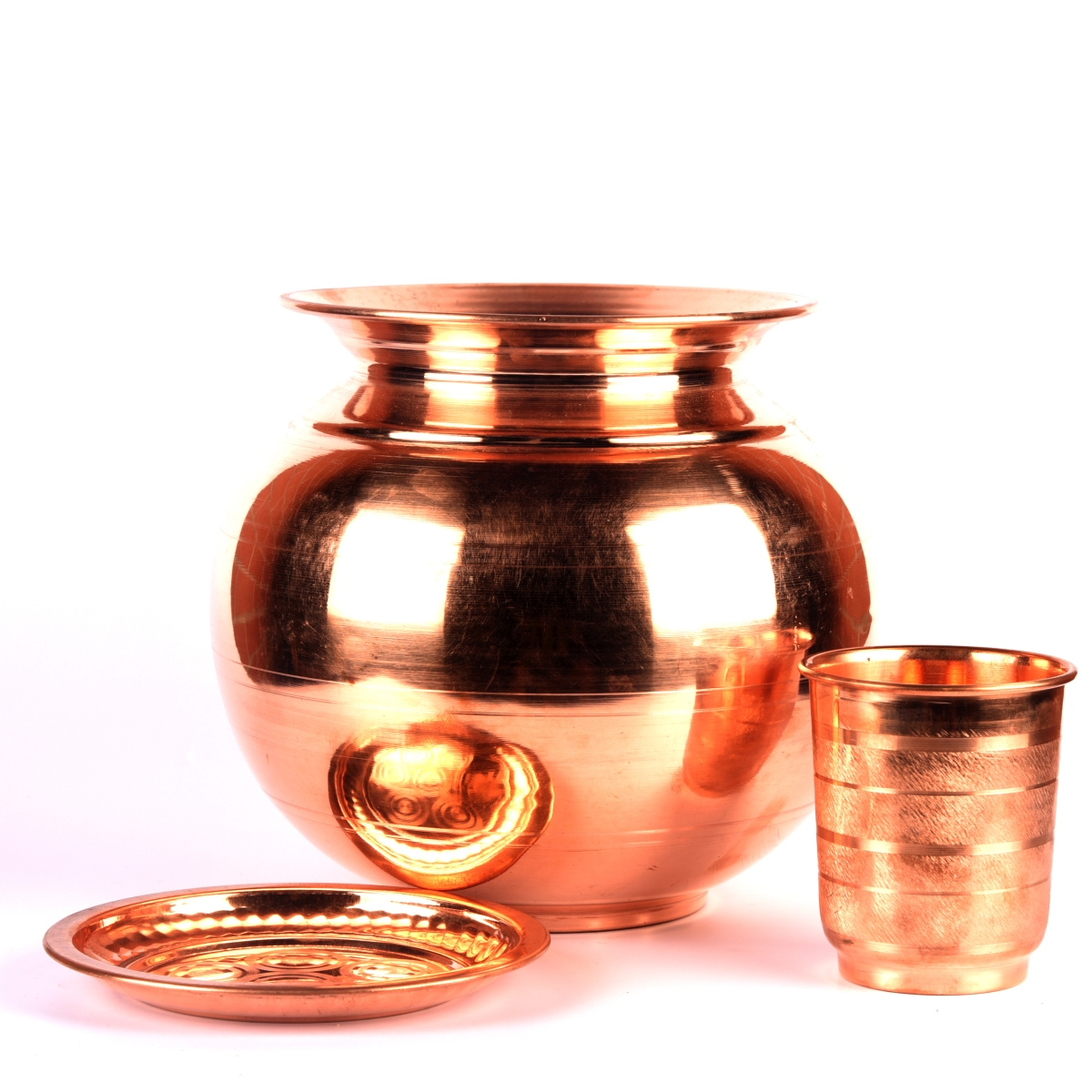 copper water pot with glass