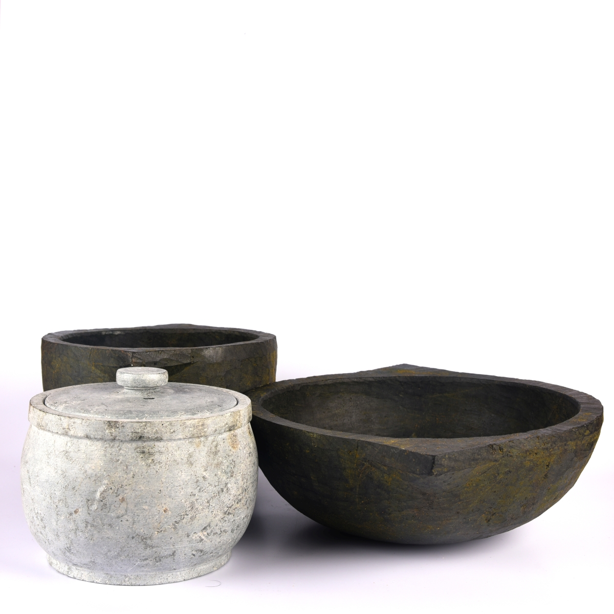 soapstone cookpot with kadai and curd jar